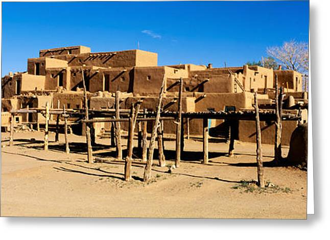 Indian Pueblo, Taos, New Mexico, Usa Greeting Card by Panoramic Images