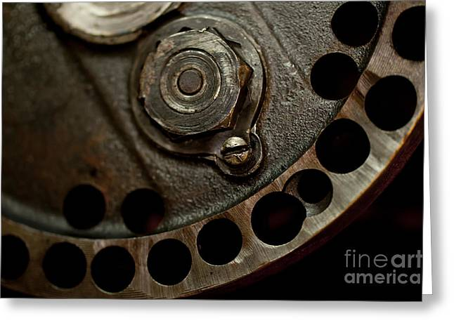 Indian Racer Crankshaft Fly Wheel Greeting Card by Wilma  Birdwell