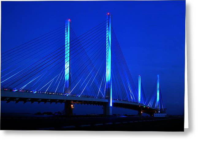 Indian River Bridge At Night Greeting Card