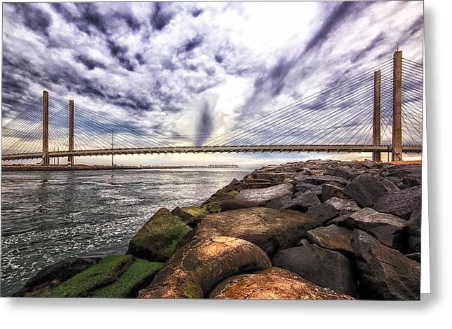 Indian River Bridge Clouds Greeting Card