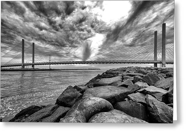 Indian River Bridge Clouds Black And White Greeting Card