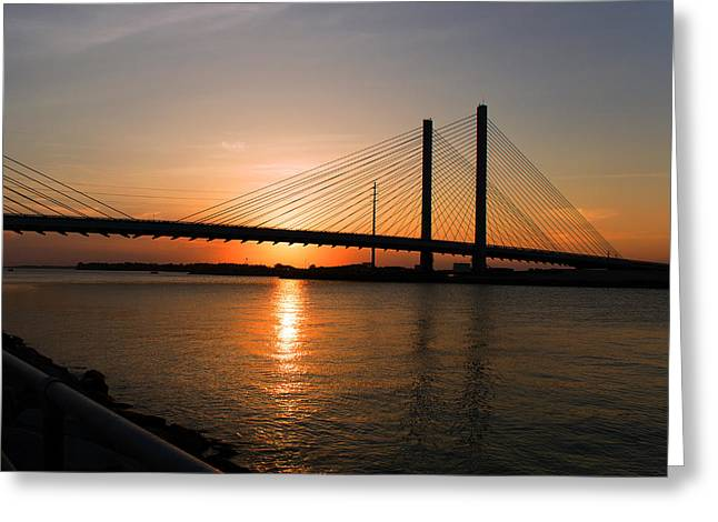 Indian River Bridge Sunset Reflections Greeting Card