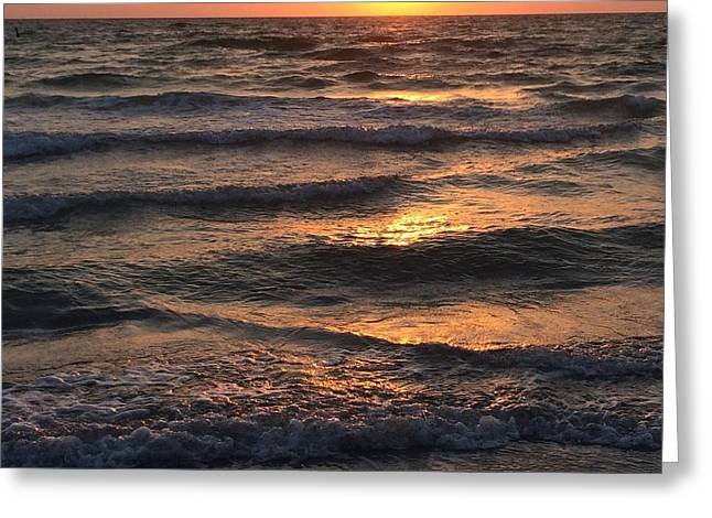 Indian Rocks Beach Waves At Sunset Greeting Card