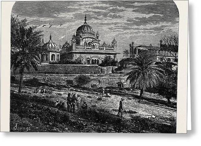 Indian Sketches The Tomb Of Runjeet Singh Greeting Card