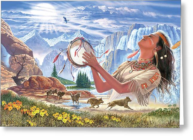 Indian Squaw And The Wolves Greeting Card by Steve Crisp