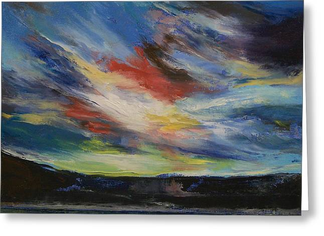 Indian Sunset Greeting Card by Michael Creese