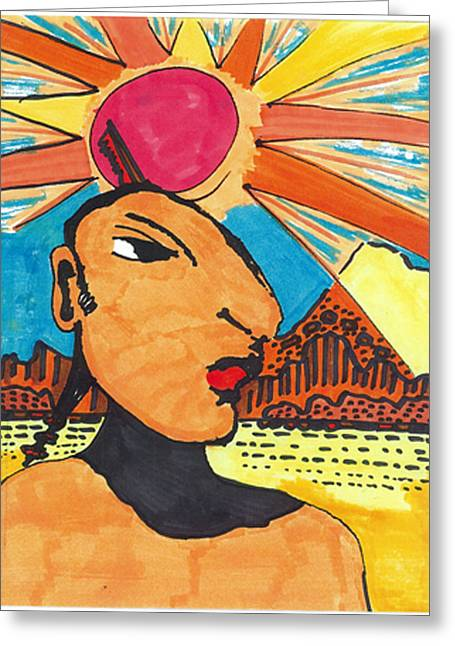 Greeting Card featuring the drawing Indian Sunshine by Don Koester