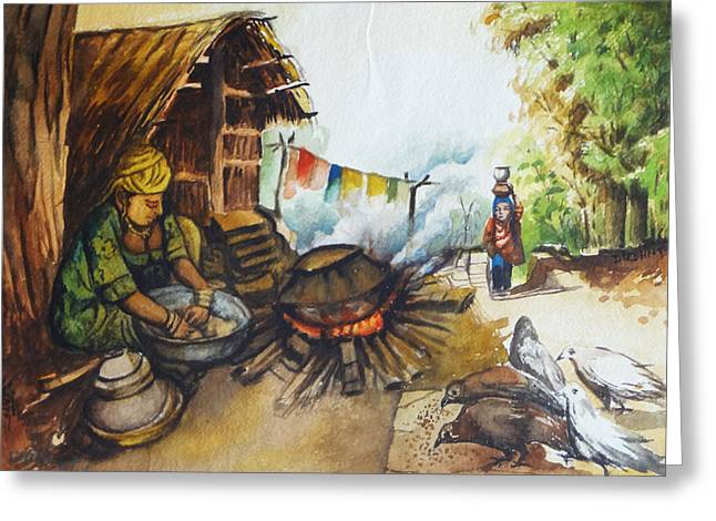 Indian Village Life - 6 Greeting Card