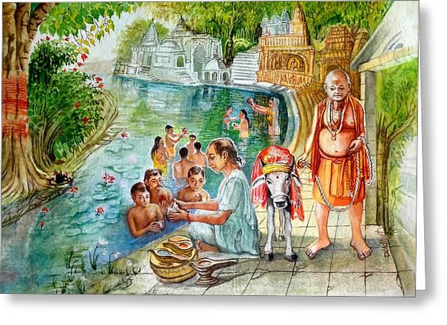 Indian Village Life - 7 Greeting Card