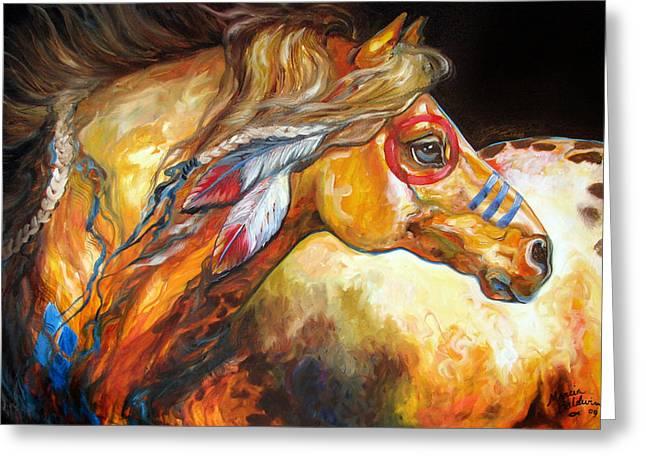 Indian War Horse Golden Sun Greeting Card