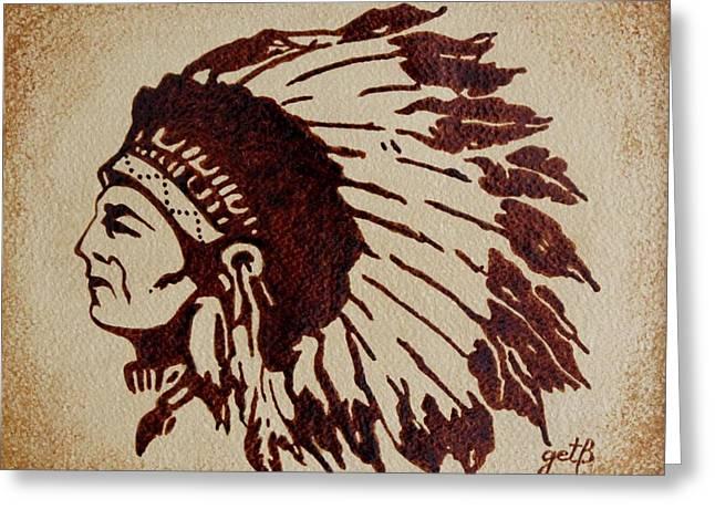 Indian Wise Chief Coffee Painting Greeting Card by Georgeta  Blanaru