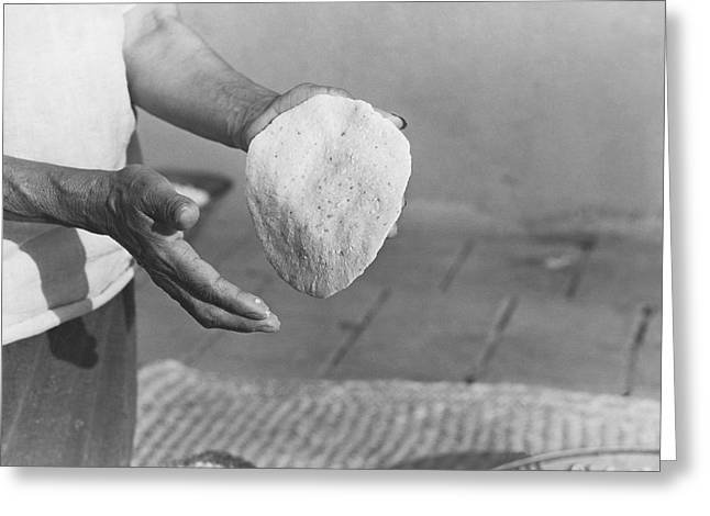 Indian Woman Making Tortillas Greeting Card by Underwood Archives Onia