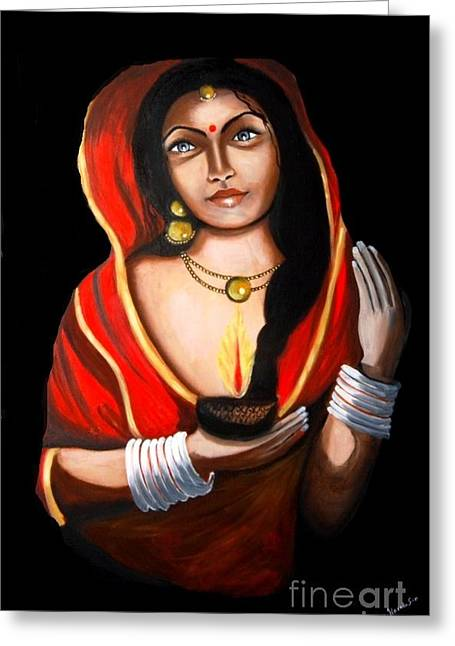 Indian Woman With Lamp Greeting Card