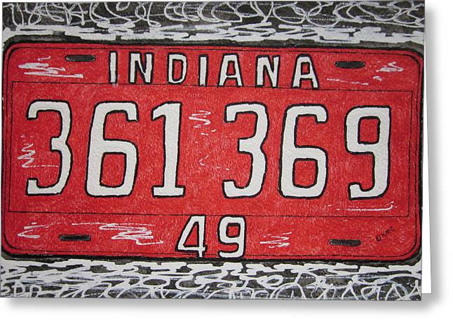 Indiana 1949 License Platee Greeting Card by Kathy Marrs Chandler