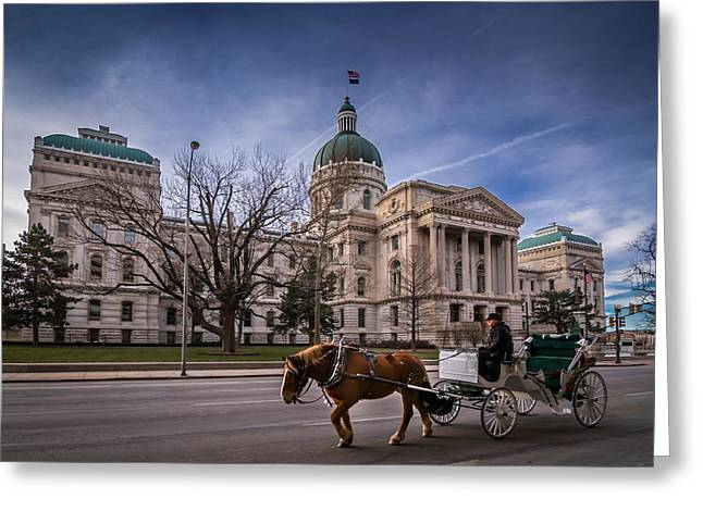 Indiana Capital Building - Front With Horse Passing Greeting Card
