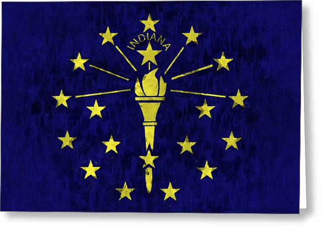 Indiana Flag Greeting Card by World Art Prints And Designs