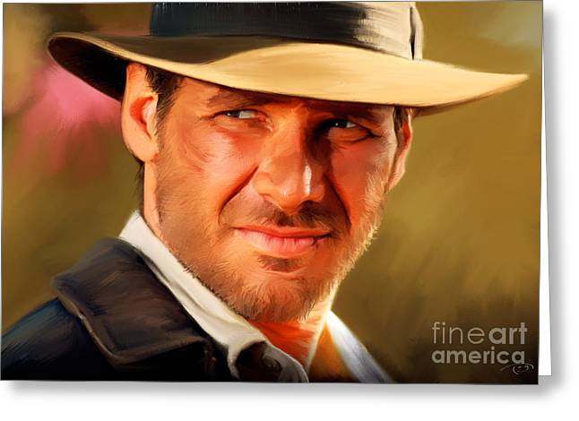 Indiana Jones Greeting Card by Paul Tagliamonte