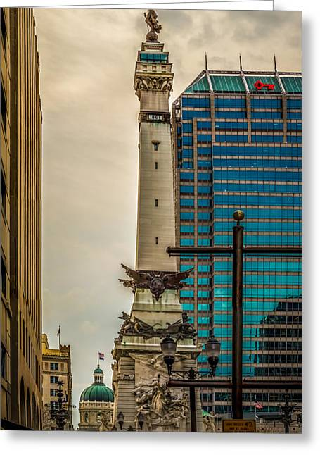 Indiana - Monument Circle With State Capital Building Greeting Card
