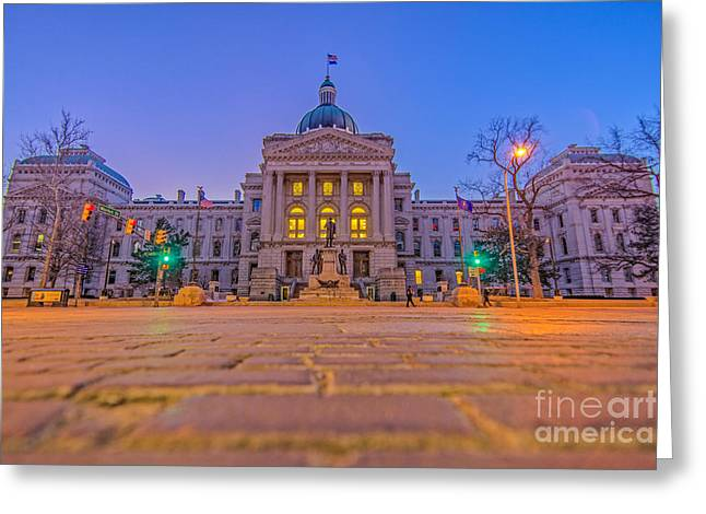 Indiana State House Night Hdr Greeting Card by David Haskett