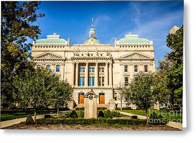 Indiana Statehouse State Capital Building Picture Greeting Card by Paul Velgos