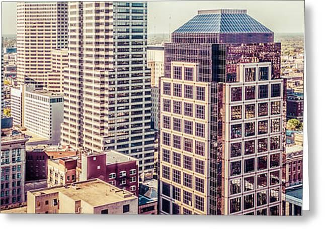 Indianapolis Aerial Retro Panorama Picture Greeting Card