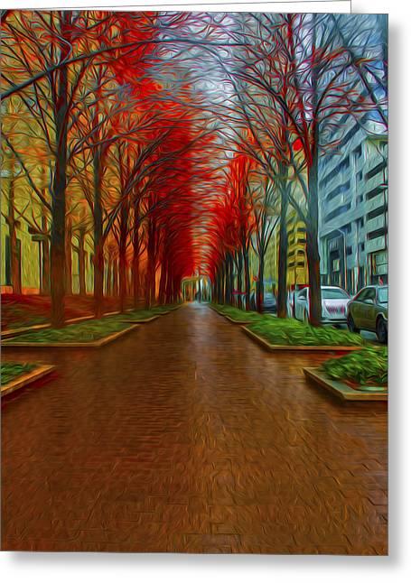 Indianapolis Autumn Trees Oil Greeting Card
