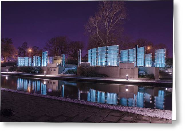 Indianapolis Canal Walk Medal Of Honor Memorial Night Lights Greeting Card by David Haskett