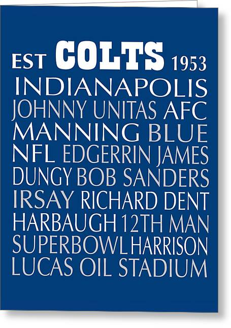 Indianapolis Colts Greeting Card by Jaime Friedman