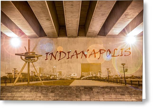 Indianapolis Graffiti Skyline Greeting Card