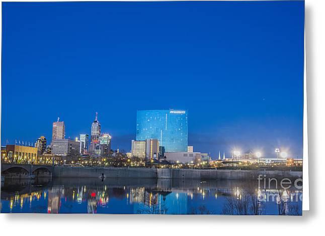 Indianapolis Indiana Blue Greeting Card by David Haskett