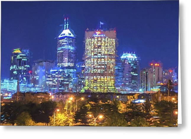 Indianapolis Indiana Digitally Painted Night Skyline Blue 3 Greeting Card by David Haskett
