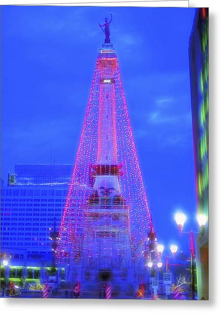 Indianapolis Indiana Monument Circle Christmas Tree Greeting Card by David Haskett