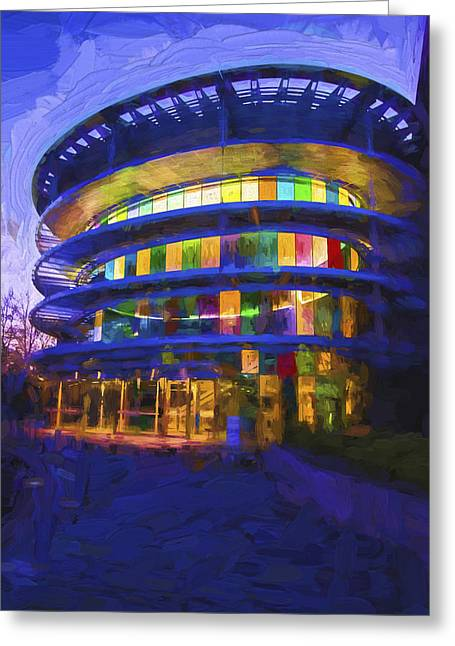 Indianapolis Indiana Museum Of Art Painted Digitally Greeting Card by David Haskett