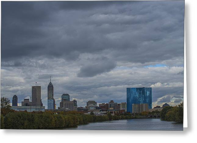Indianapolis Indiana Skyline N Storm Greeting Card by David Haskett