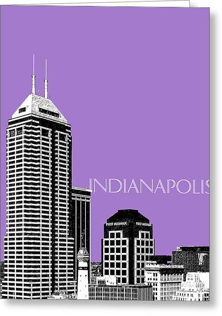 Indianapolis Indiana Skyline - Violet Greeting Card by DB Artist