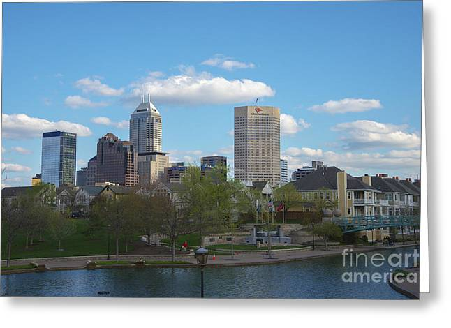 Indianapolis Skyline Blue 2 Greeting Card by David Haskett