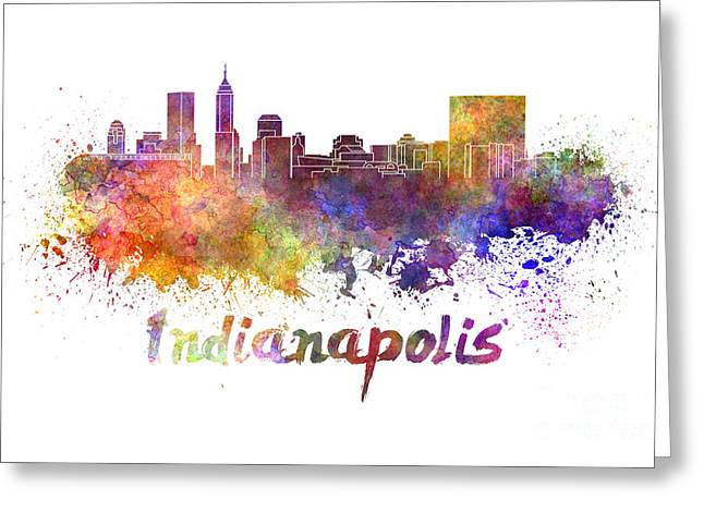 Indianapolis Skyline In Watercolor Greeting Card by Pablo Romero