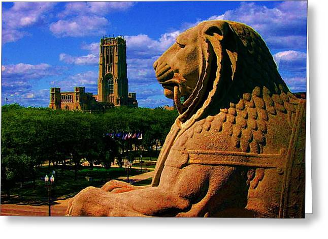 Indianapolis War Memorial Lion Greeting Card by P Dwain Morris