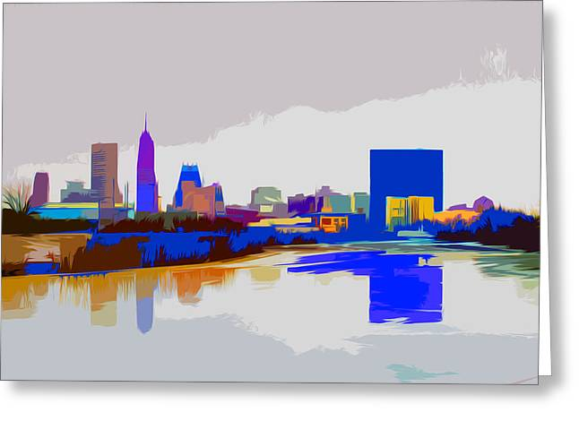 Indianapolis Indiana Winter Paint Greeting Card by David Haskett