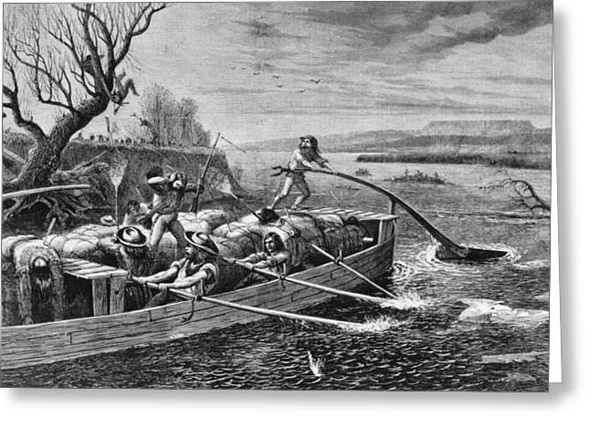 Indians Attacking Fur Traders Greeting Card