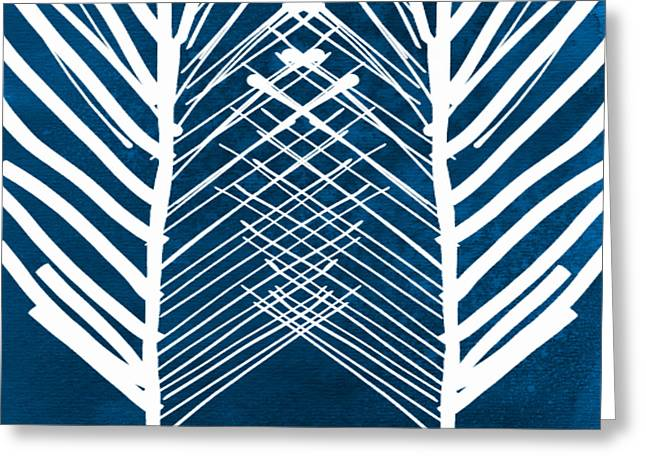 Indigo And White Leaves- Abstract Art Greeting Card by Linda Woods