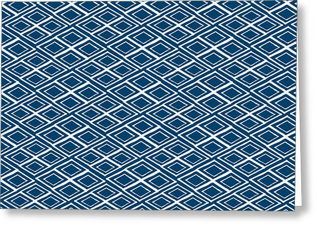 Indigo And White Small Diamonds- Pattern Greeting Card by Linda Woods