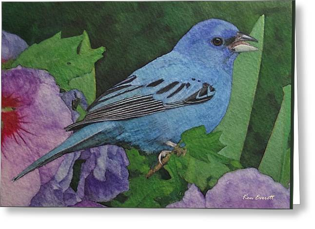 Indigo Bunting No 2 Greeting Card by Ken Everett