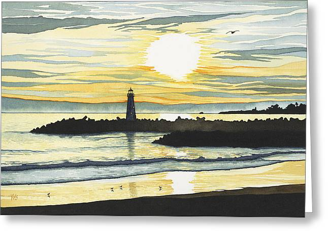 Indigo Sunset Greeting Card by Kerry Van Stockum