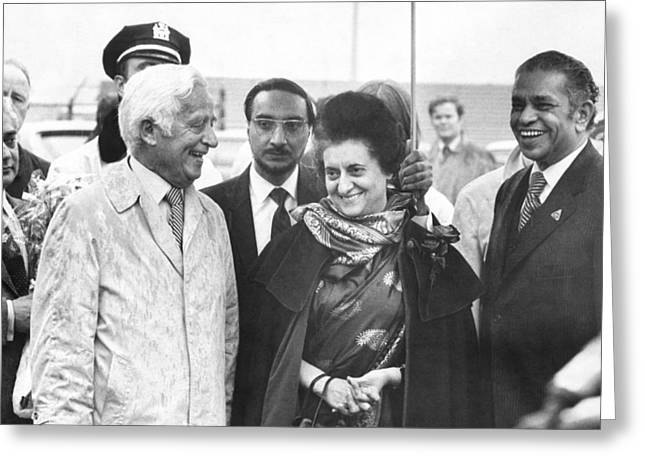 Indira Gandhi At Jfk Airport Greeting Card by Underwood Archives