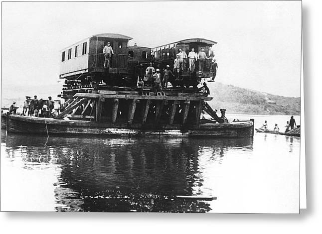Indochina Train Ferry Greeting Card by Underwood Archives