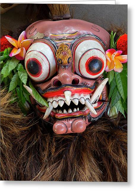 Indonesia, Bali Barong Ceremonial Greeting Card by Emily Wilson