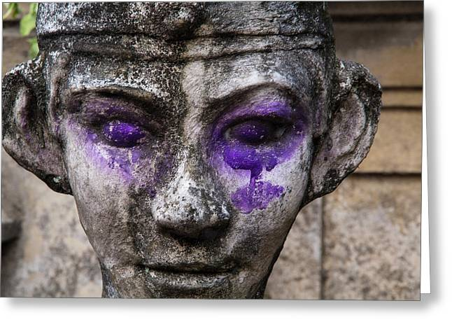 Indonesia, Bali Purple Dye On Statue Greeting Card by Emily Wilson
