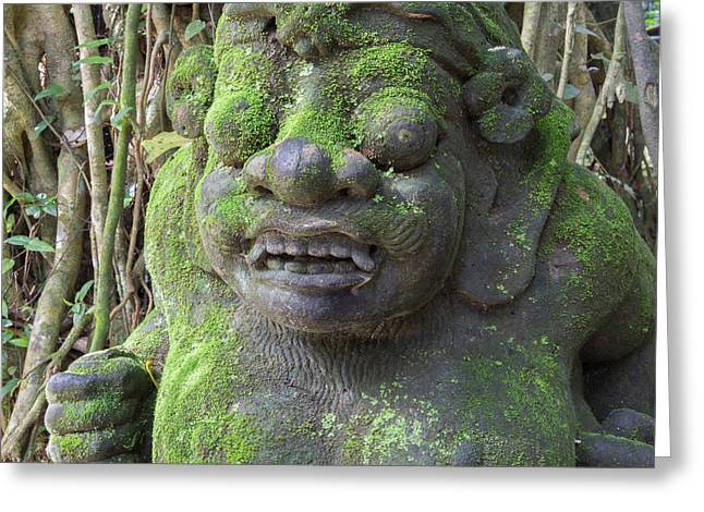 Indonesia, Bali Temple Statue Greeting Card by Emily Wilson