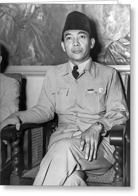 Indonesia greeting cards fine art america indonesian president sukarno greeting card m4hsunfo